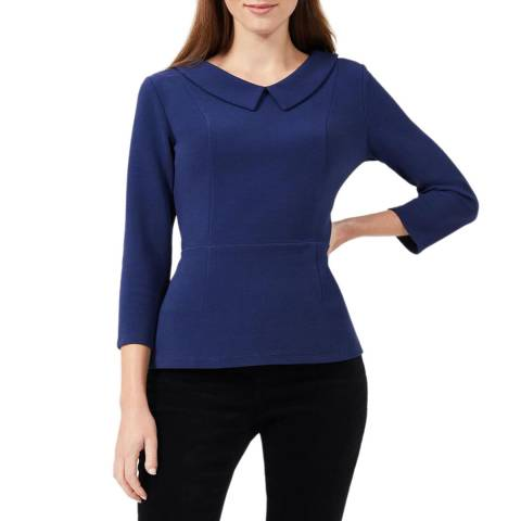 Hobbs London Blue Laurie Cotton Blend Collared Top