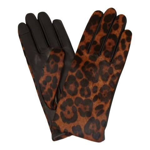 Hobbs London Leopard Print Emma Leather Gloves