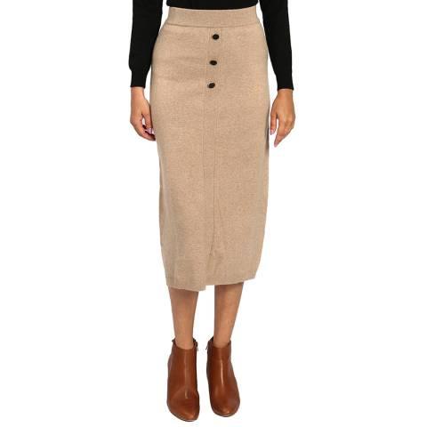 C & JO Camel Cashmere Blend Midi Skirt