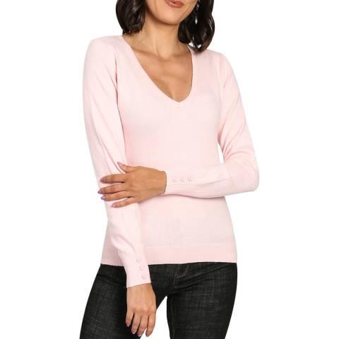 C & JO Pink Button Cashmere Blend V Neck Jumper
