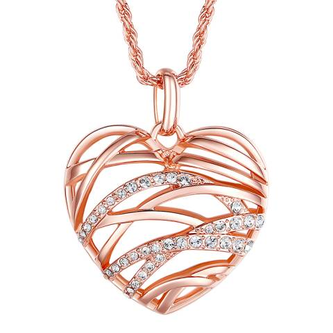 Lilly & Chloe Rose Gold Heart Pendant Necklace with Swarovski Crystals