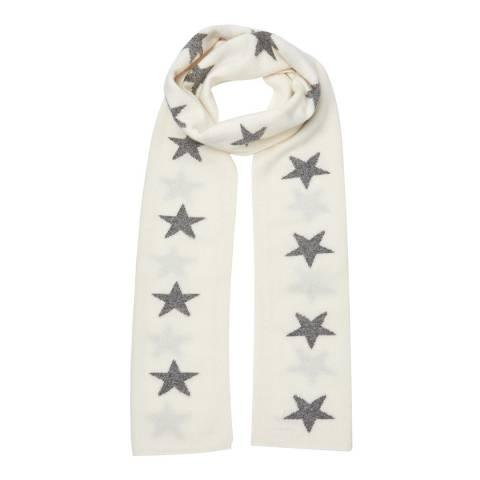 Laycuna London White/Grey Star Cashmere Scarf