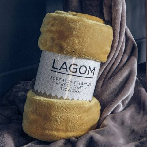 Gallery Ochre Rolled Fleece Lagom 130x170cm