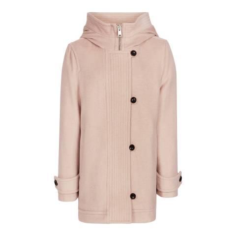 Reiss Pink Wool Marlowe Hooded Coat