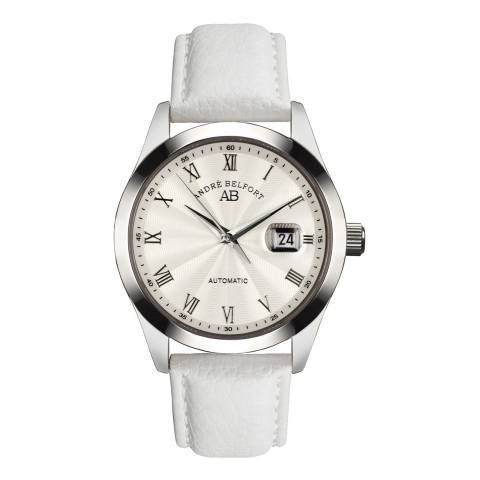 Andre Belfort Men's White/Silver Leather Watch