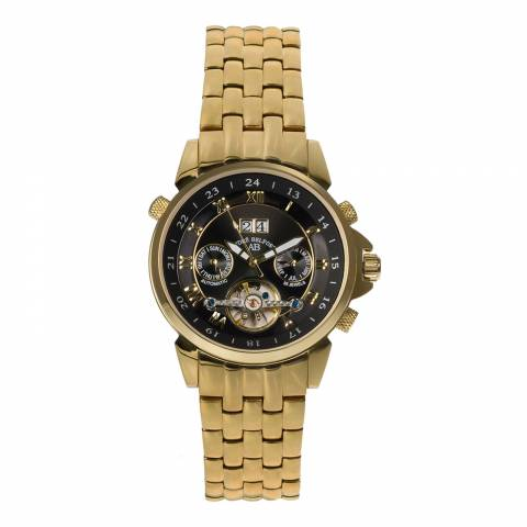 Andre Belfort Men's Gold/Black Stainless Steel Etoile Polaire Watch