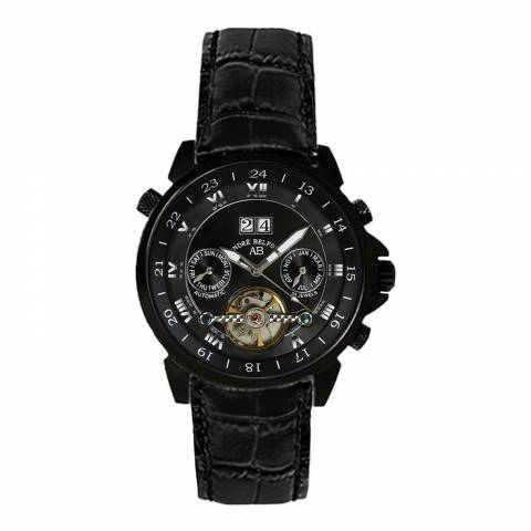 Andre Belfort Men's Black Etoile Polaire Leather Watch
