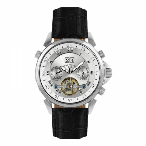 Andre Belfort Men's Silver/Black Etoile Polaire Leather Watch