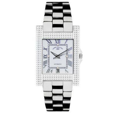 Andre Belfort Women's Silver Rectangular Diamante Watch