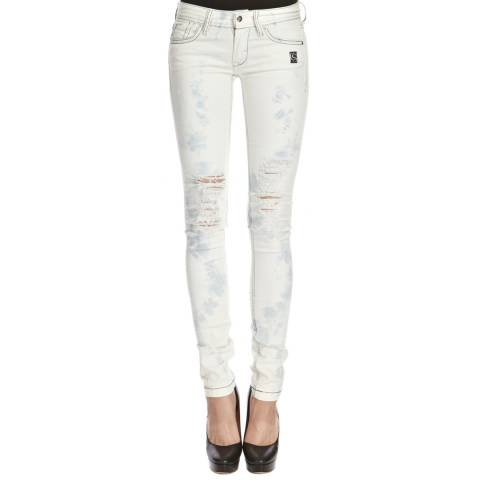 Core Spirit Grey/White Ripped Skinny Jeans