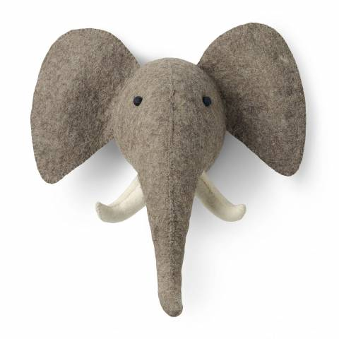 Mr. Fox Grey Elephant Wool Felt Head