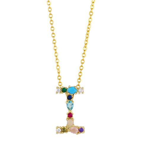 "Arcoris Jewellery 18K Gold Plated Rainbow Gemstone ""I"" Pendant Necklace"