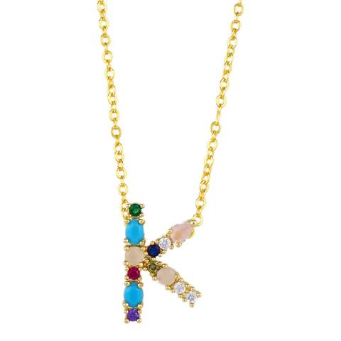 "Arcoris Jewellery 18K Gold Plated Rainbow Gemstone ""K"" Pendant Necklace"