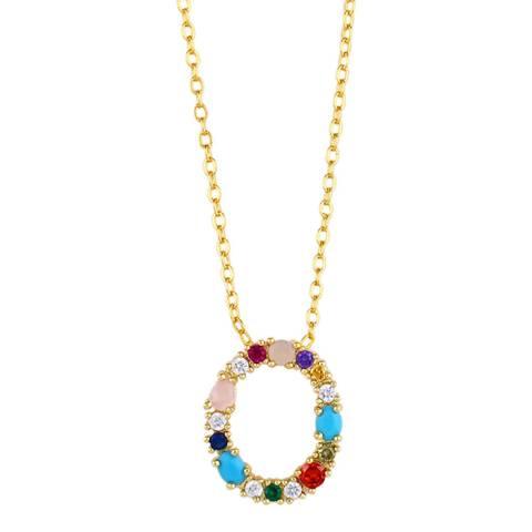 "Arcoris Jewellery 18K Gold Plated Rainbow Gemstone ""O"" Pendant Necklace"