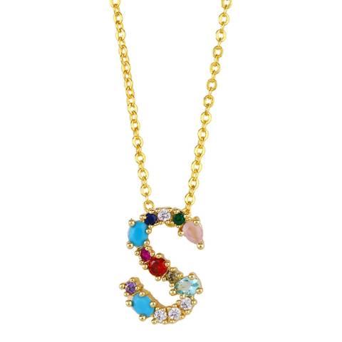 "Arcoris Jewellery 18K Gold Plated Rainbow Gemstone ""S"" Pendant Necklace"