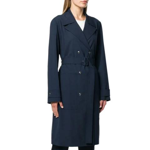 Theory Navy Wool Blend Military Trench Coat