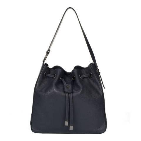Markese Navy Leather Shoulder Bag