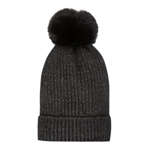 JayLey Collection Black Wool Blend Hat With Faux Fur Pom