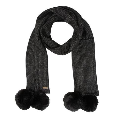 JayLey Collection Black Cashmere Blend Scarf With Faux Fur Bobble