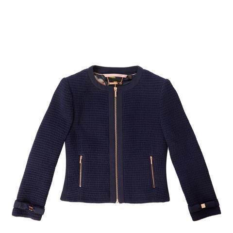 Ted Baker Navy Contrast Trim Bow Detail Jacket