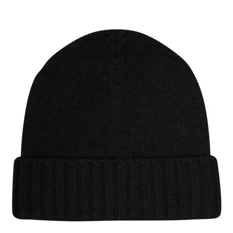 Laycuna London Black Cashmere Ribbed Hat