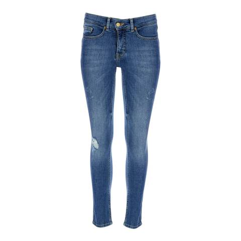 VICTORIA, VICTORIA BECKHAM Clear Blue Mid Rise Skinny Stretch Jeans