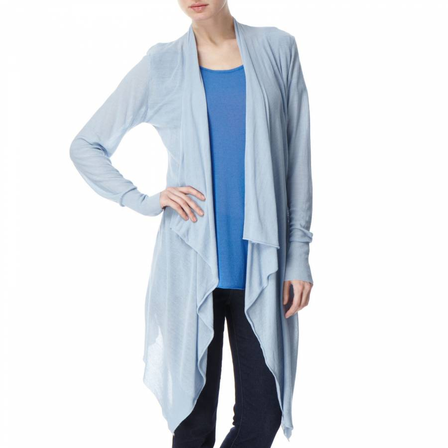 Pale Blue Linen Blend Waterfall Cardigan Size S/M - BrandAlley