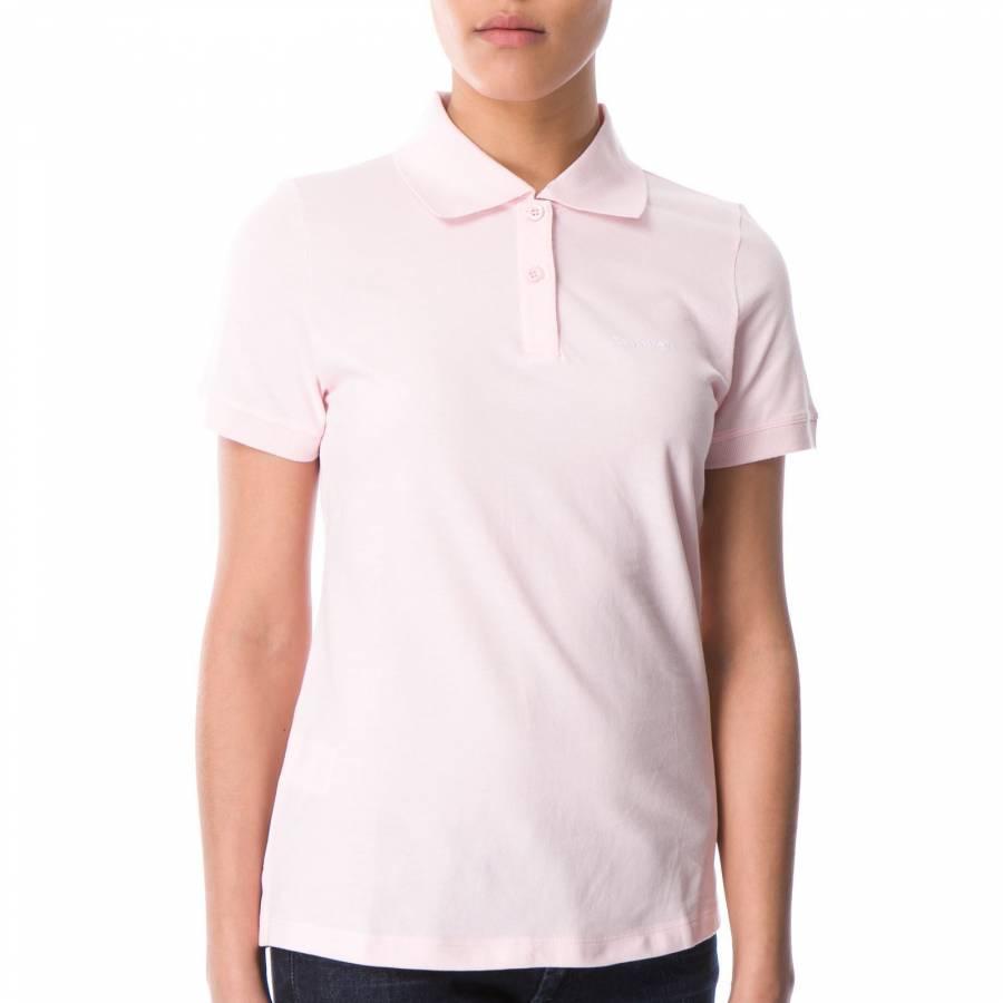 f56616f645e7 Calvin Klein Collection Women s Pink Cotton Embroidered Logo Polo Shirt