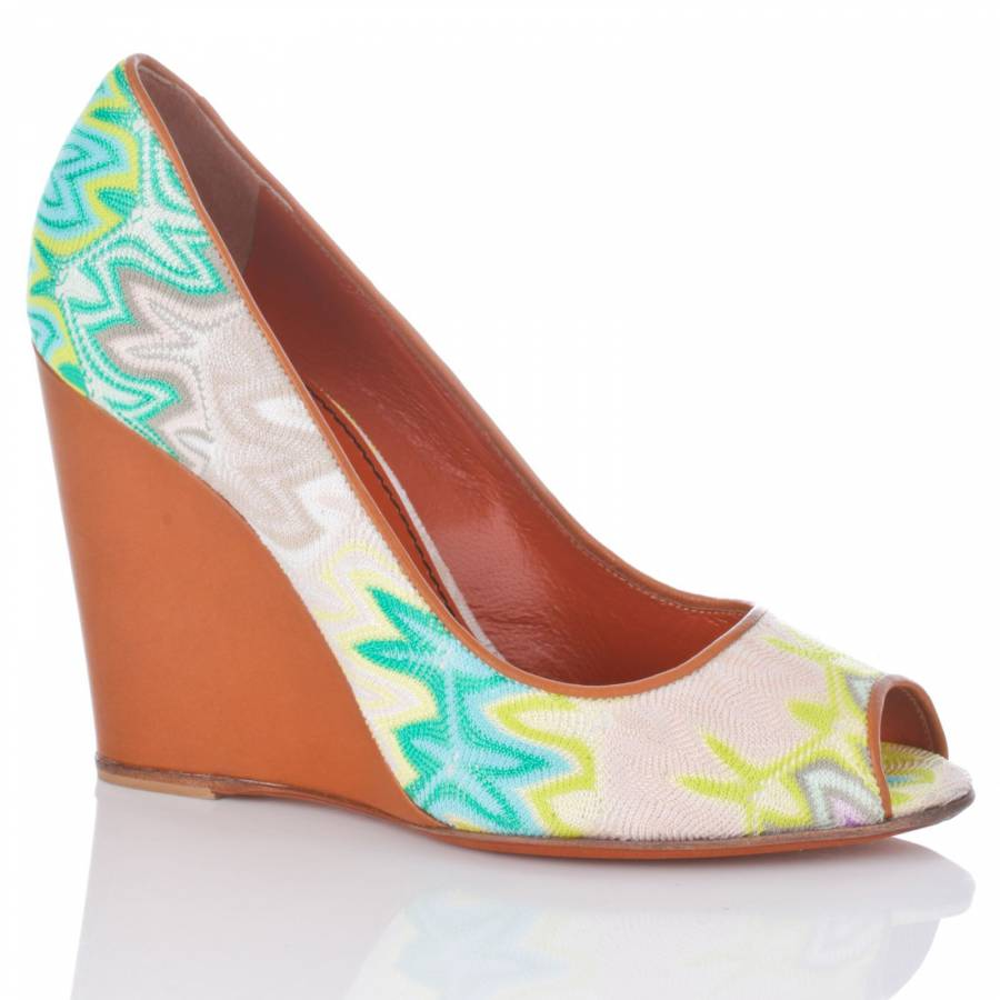 380d91400527c Green/Beige Embroidered Wedge Shoes 10cm Heel - BrandAlley