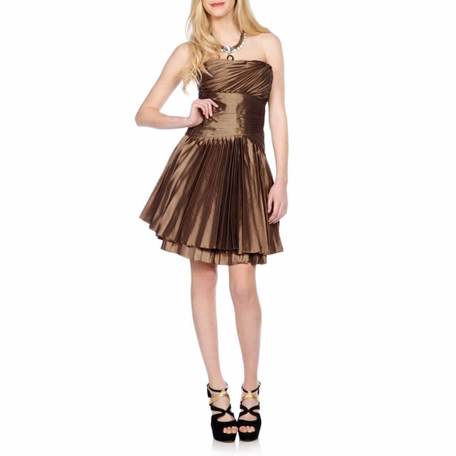 dd1aa00f80 Halston Heritage Bronze Pleated Metallic Mini Dress
