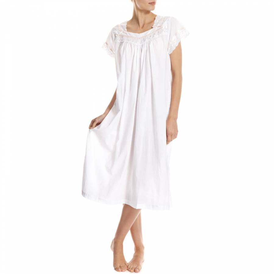 White Broderie Anglaise Short Sleeved Cotton Nightdress - BrandAlley 78248a825