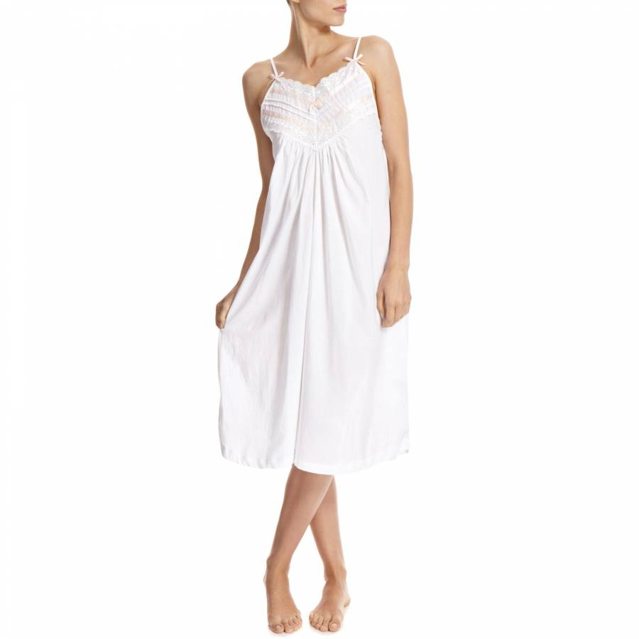 White Broderie Anglaise Strappy Cotton Nightdress - BrandAlley 1fa47444f