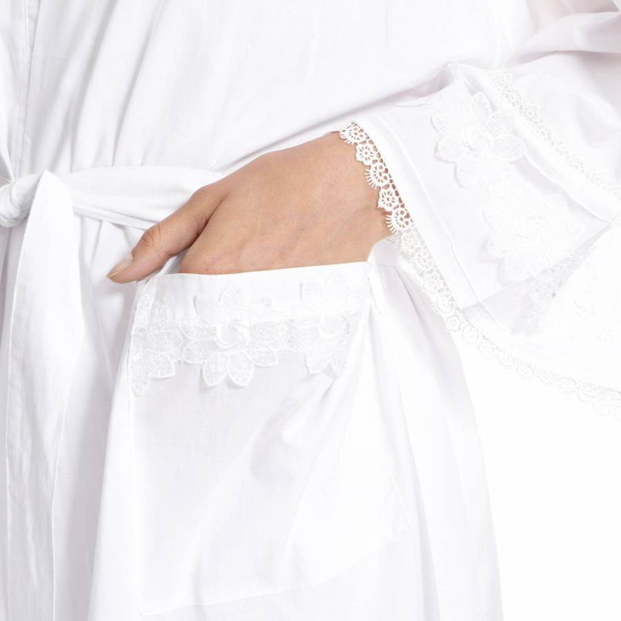 White Broderie Anglaise Cotton Robe - BrandAlley