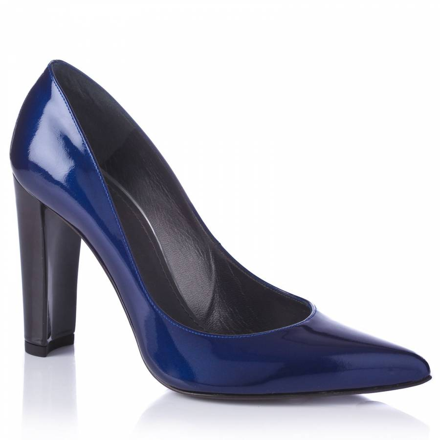565f22acb6ea2 Stuart Weitzman Blue Patent Leather Pointed Shoes 9cm Heel
