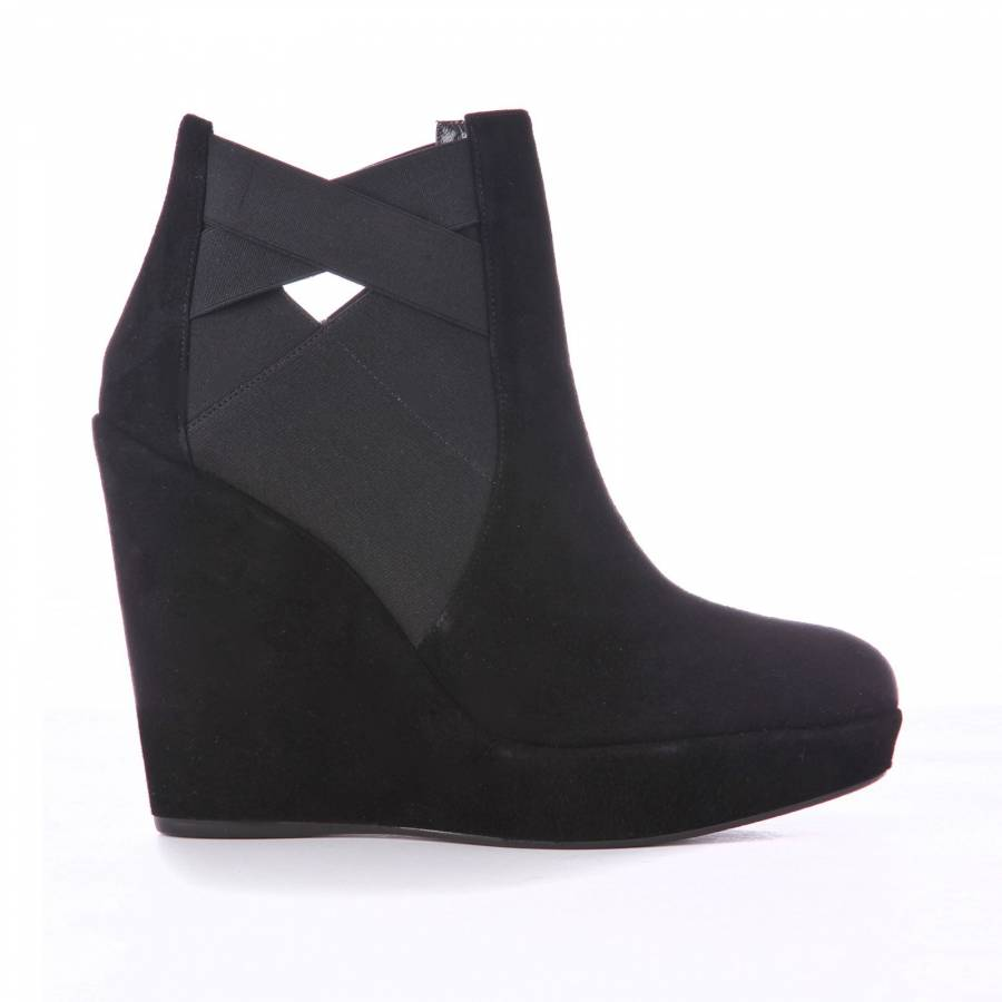 cfe5bdc94cd Black Suede Wedge Ankle Boots 13cm Heel - BrandAlley