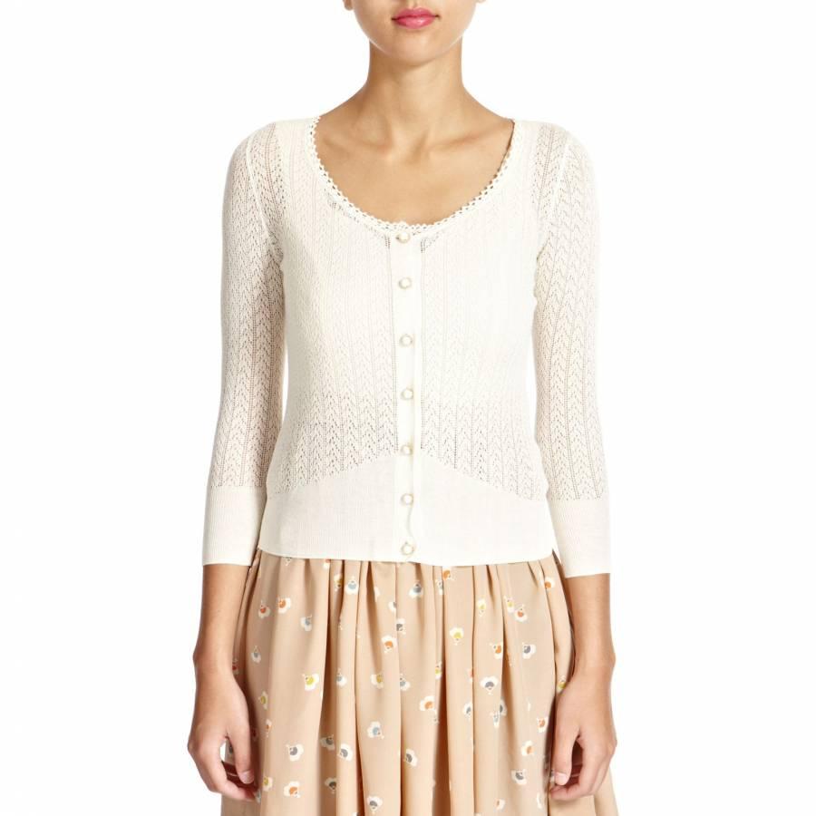 2869b3d0eada5 Cream Lace Pointelle Silk Cotton Cardigan - BrandAlley