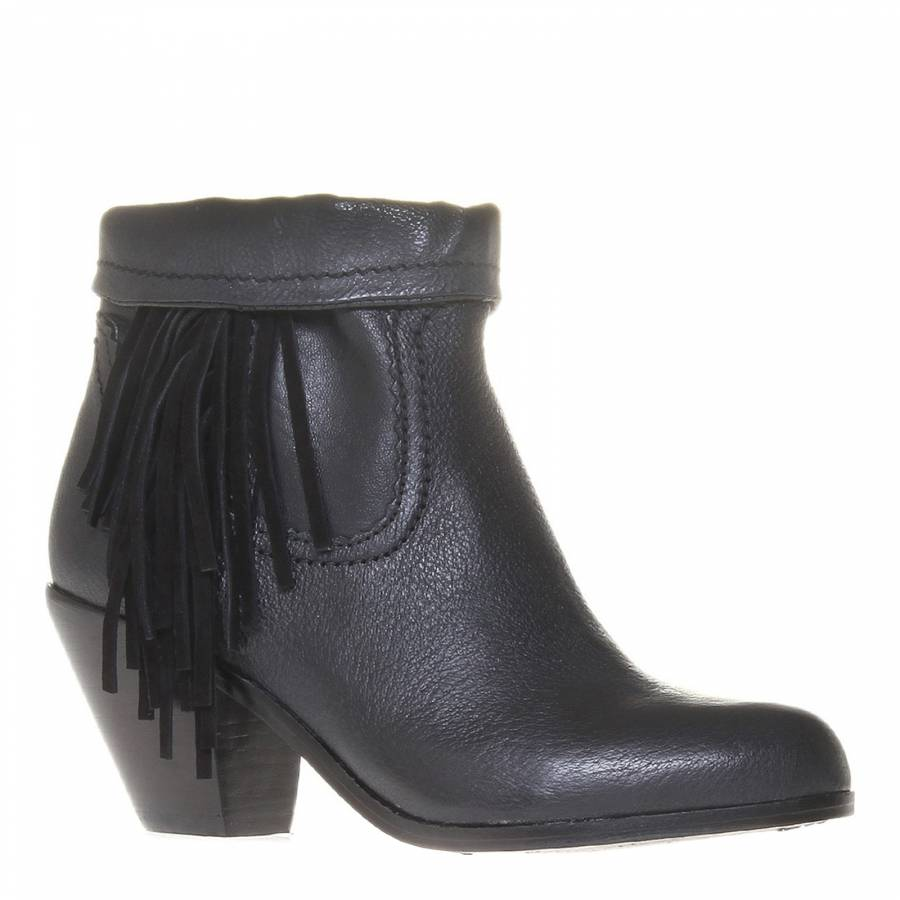 f7901a733da27c Black Leather Louie Fringe Boots 6cm Heel - BrandAlley