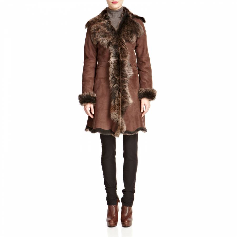 370b4c3e1d Shearling Boutique Brown/Gold Waterfall Shearling Coat