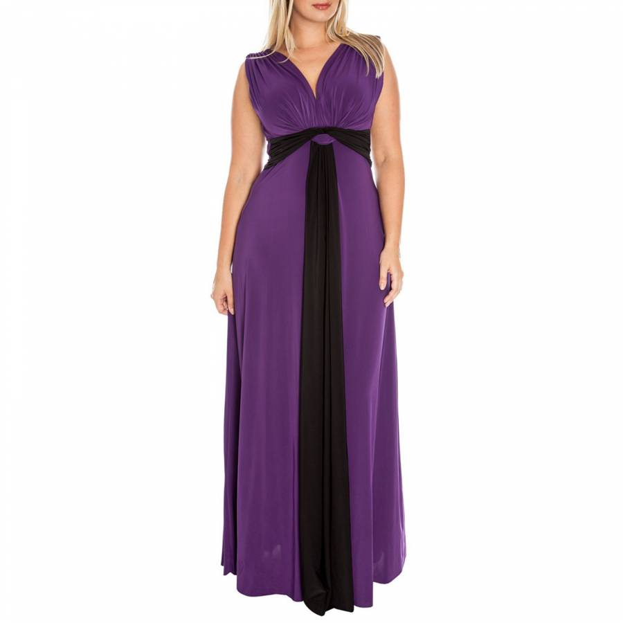 Purple Draped Grecian Column Panel Maxi Dress - BrandAlley