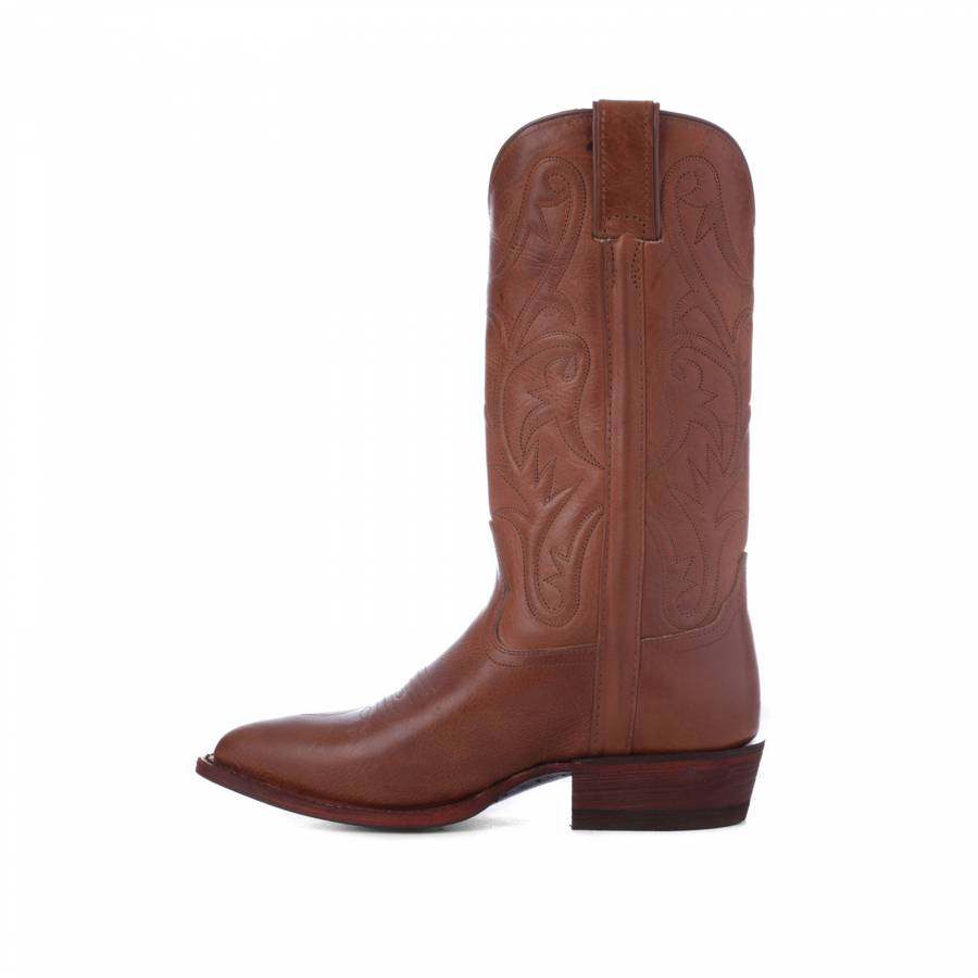 cc7bcef7bf5 Tan Leather Stitched Long Cowboy Boots 4cm Heel - BrandAlley