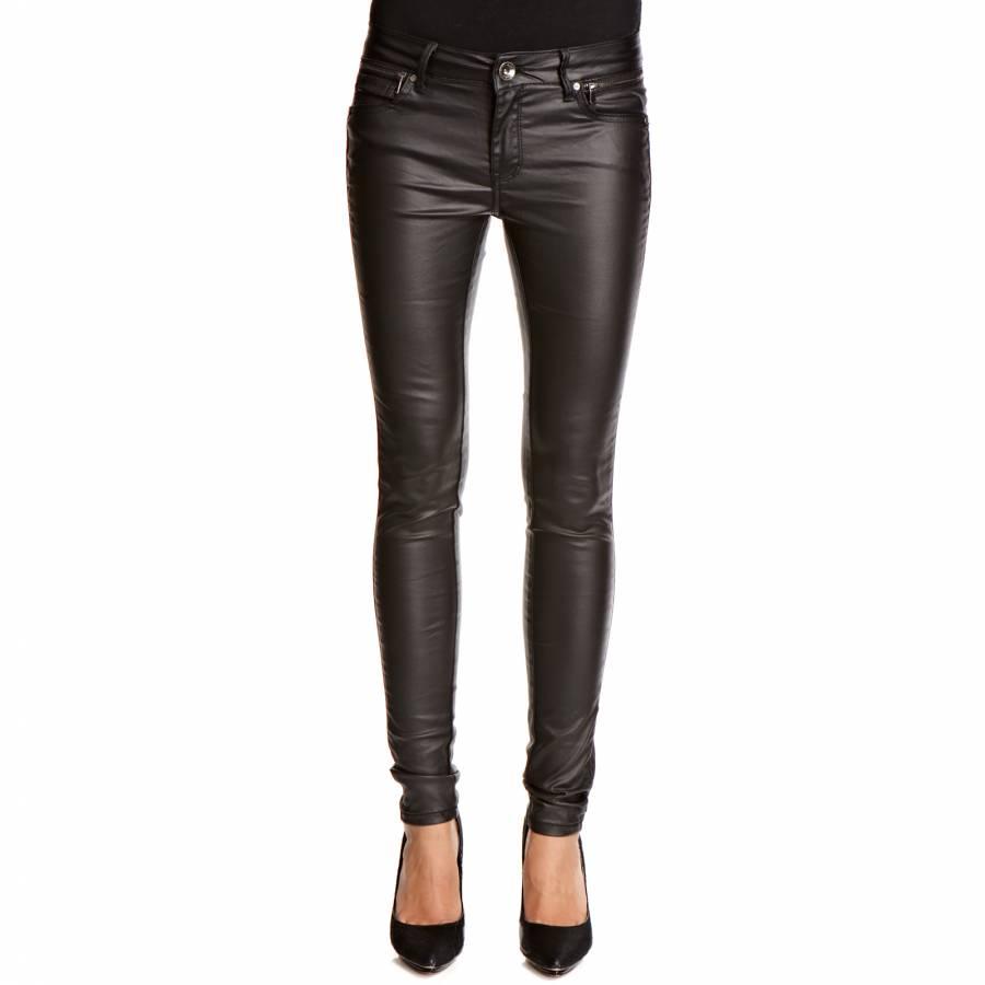 dd31e515d5c4 Black Slim Fit Faux Leather PU Trousers 30 Leg - BrandAlley