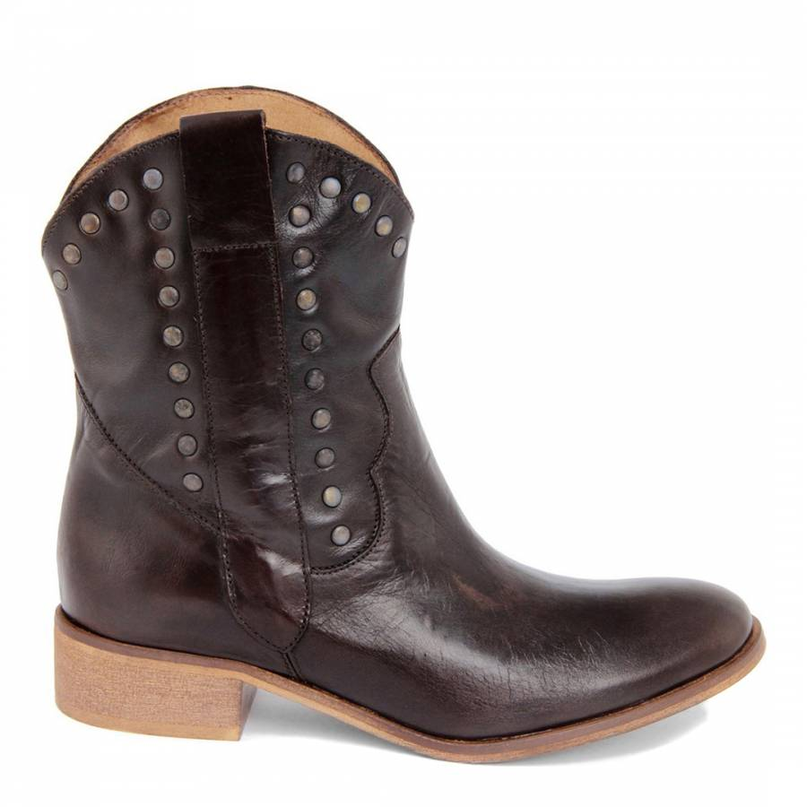 b174b5bbf959 Brown Leather Vintage Effect Cowboy Ankle Boots - BrandAlley