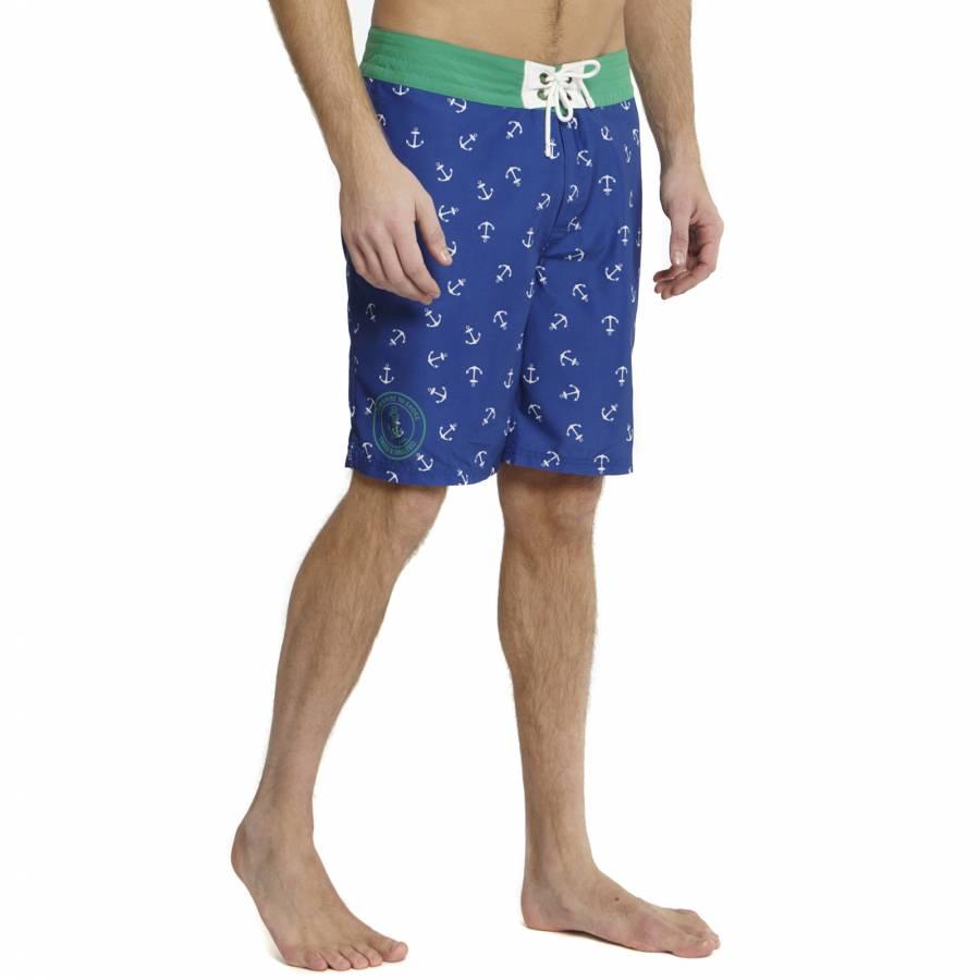 1f814d5ba0492 Men's Blue/Green Caspian Anchor Print Swim Shorts - BrandAlley