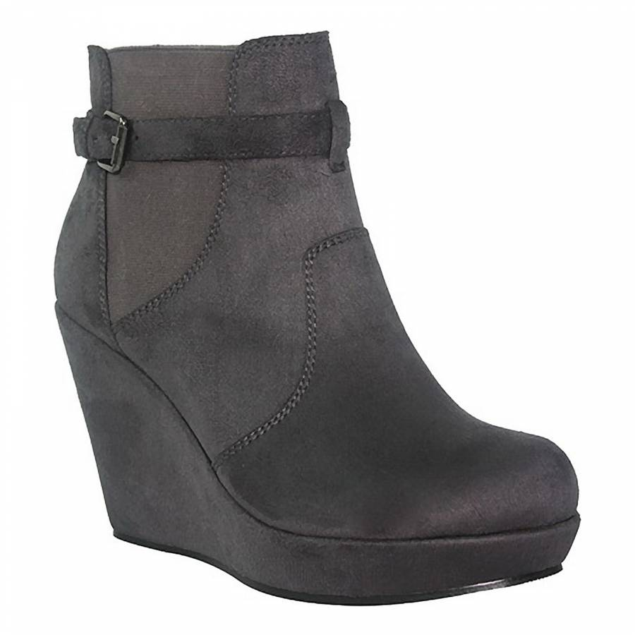 fa2d30957e2b Grey Strap Wedge Ankle Boots 12.5cm Heel - BrandAlley