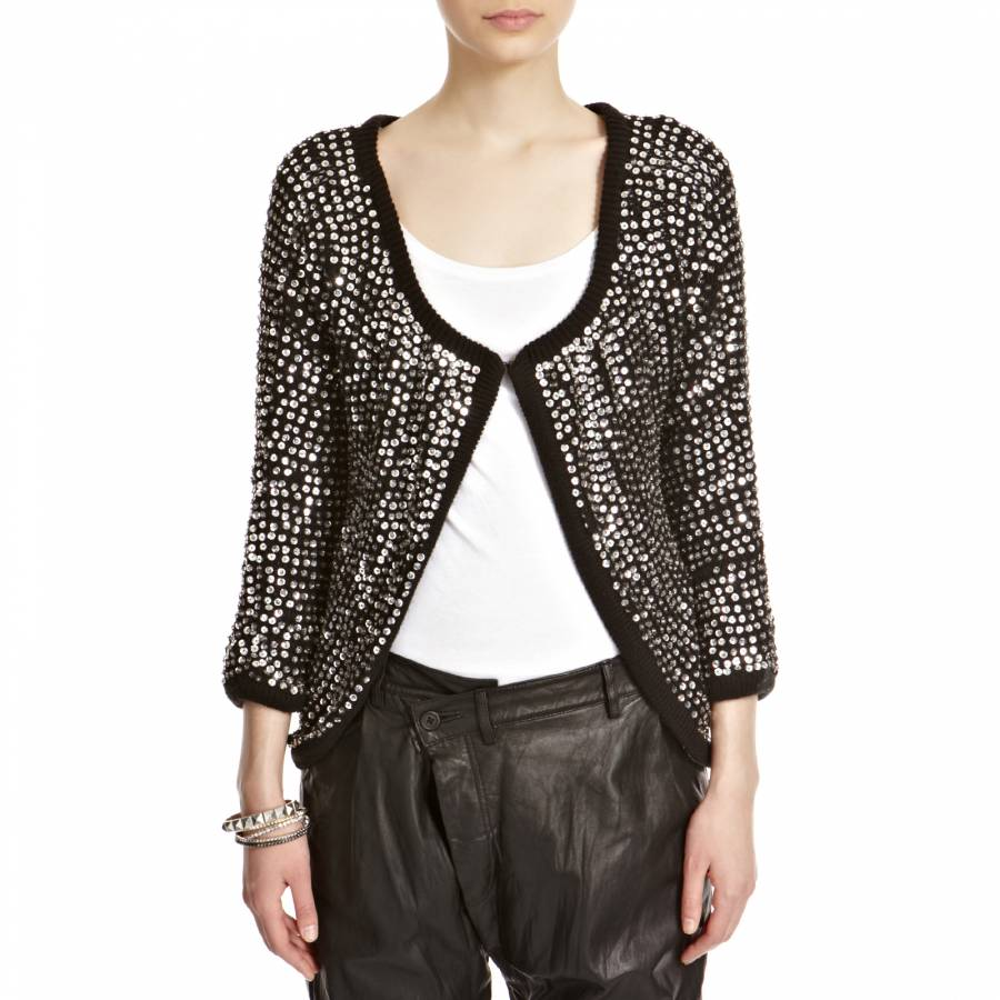 Women's Black/Silver Sequin Cardigan - BrandAlley