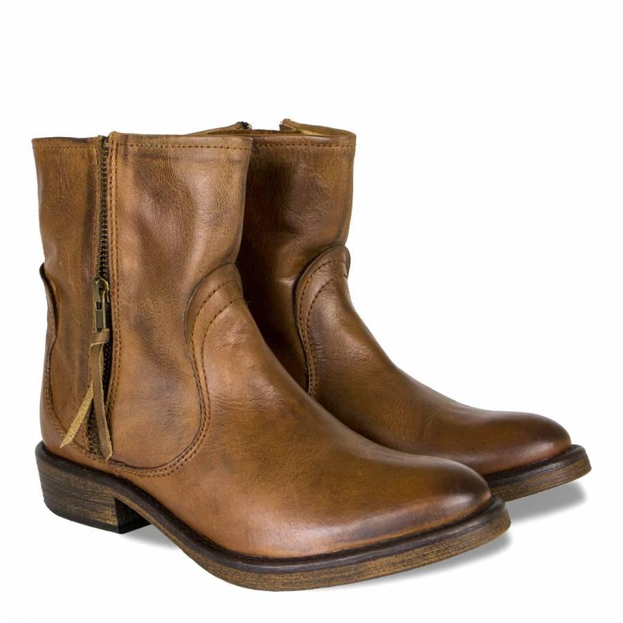ca3607fd6fa5 Seven Boot Lane Tan Leather Abella Zip Ankle Boots 3cm heel