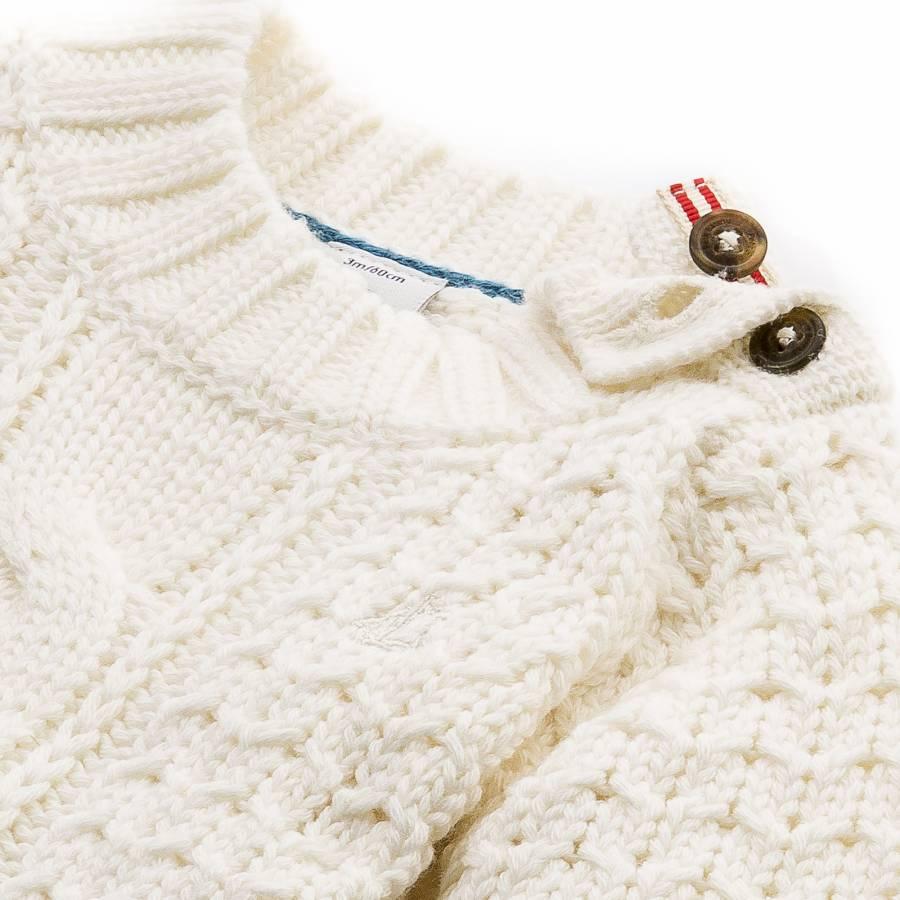 f4617b196 Baby Boy Cream Wool Cotton Knit Jumper - BrandAlley
