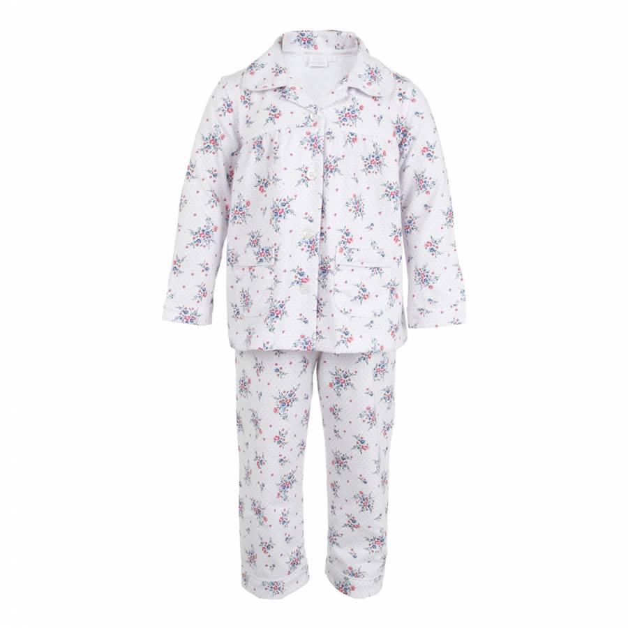 Mini Vanilla Girl's Pink Floral Print Pyjamas with Matching Bag