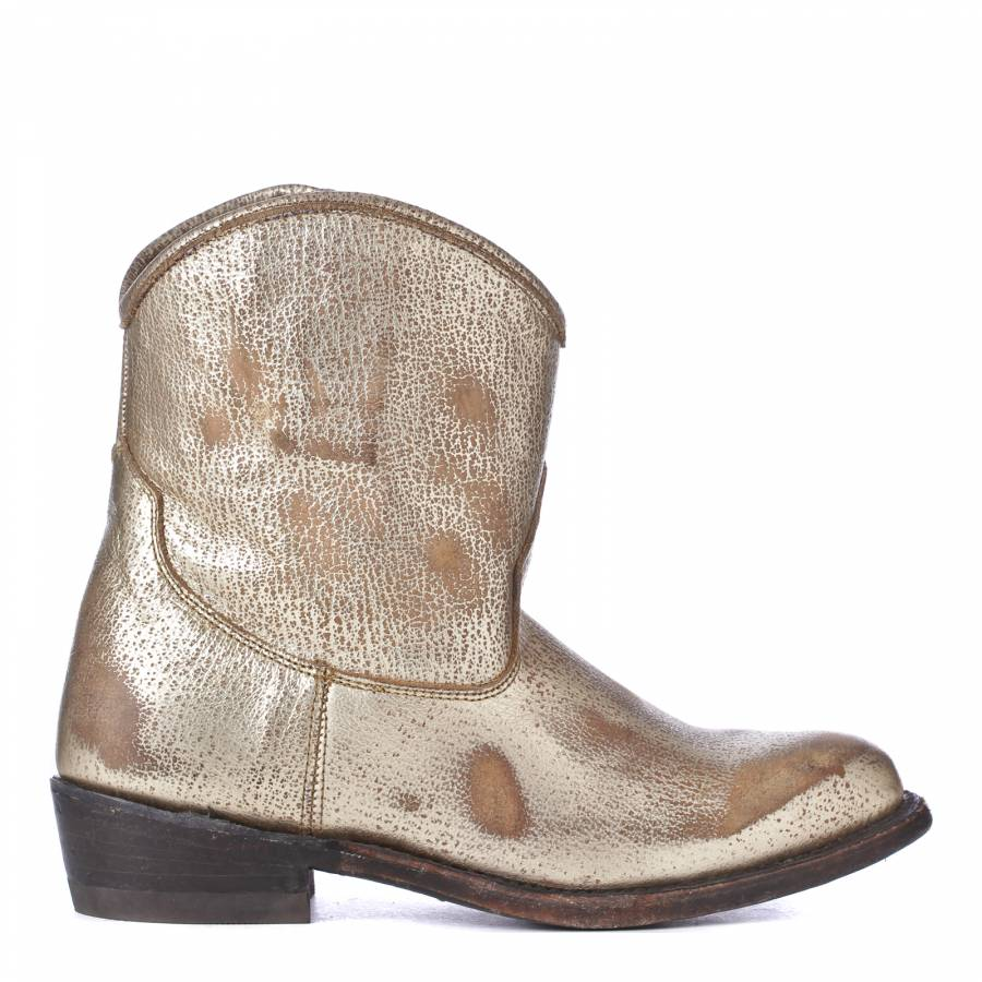 538e570ea2c Gold Leather Distressed Cowboy Boots 4cm Heel - BrandAlley