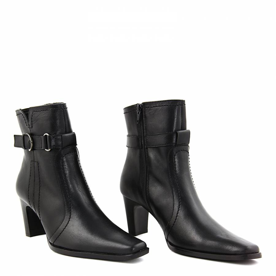 0fcb791815e Black Leather Buckle Detail Ankle Boots 6cm Heel - BrandAlley